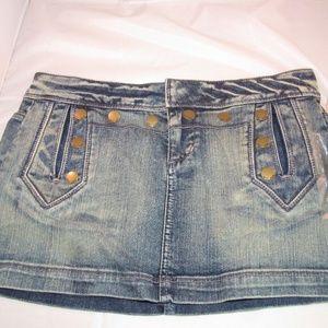 DKNY Blue Jeans Mini Skirt Size 7 Stretch NWT